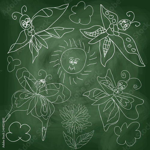 Butterfly,sun,clouds on chalkboard background