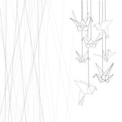graphic banner of origami and lines