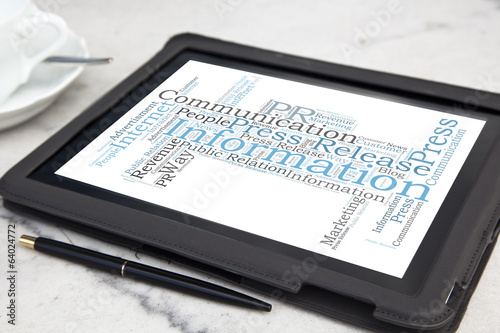 tablet with publich relation word cloud