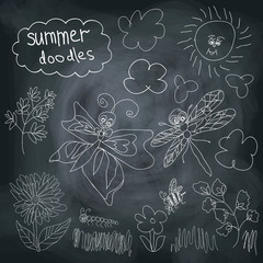 Summer Doodle set on chalkboard background