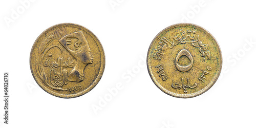 Coin five Millieme. Egypt