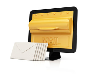 Computer monitor with mailbox on screen and envelopes