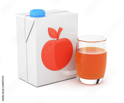 Package of juice and glass