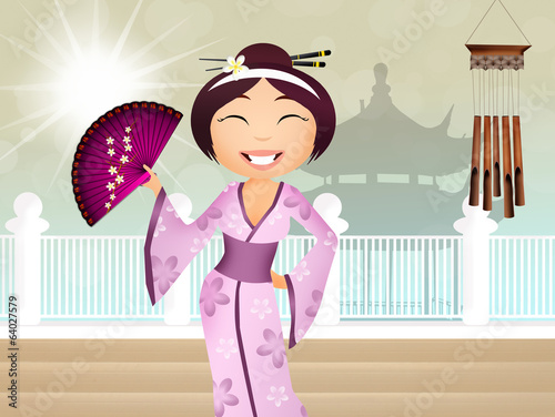 Geisha with Oriental background