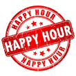 Happy hour vector stamp