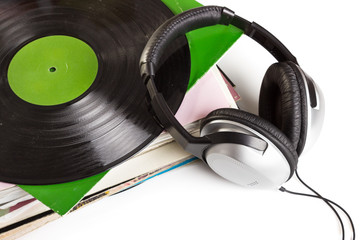 Gramophone records and headphones