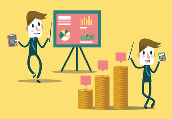 Businessman  presentation  growth profit graph. vector