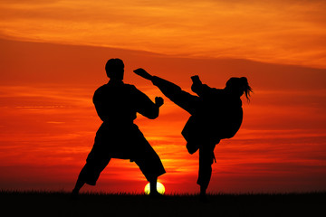 karate at sunset
