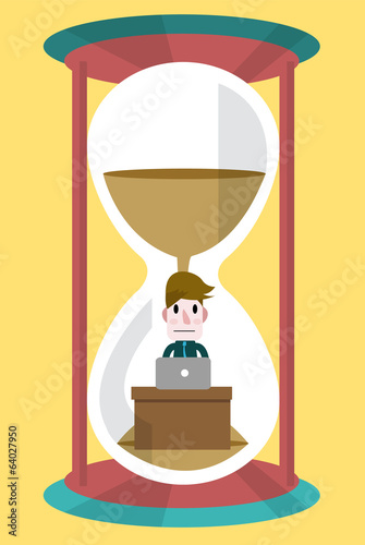 Businessman working in sand clock. Business abstract