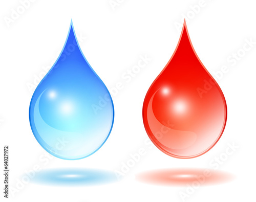 Water drops, hot and cold water symbols