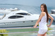 woman on luxury yacht