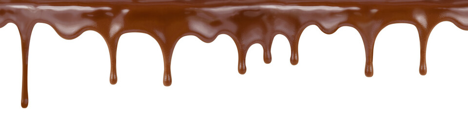 pouring chocolate dripping from cake top isolated on white backg