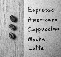 Coffee menu with Roasted Coffee beans on wood texture