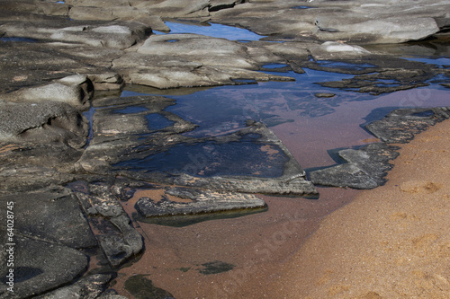 Blue Sky Reflected in Rock Pools at Seaside
