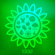 Ecology concept. Various eco symbols on blurry green background