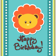 Birthday card with cute lion face