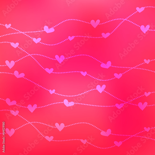 Romantic card template. Hearts on blurry pink background