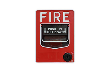 Push button switch fire isolate on white