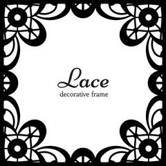 Square lace frame, ornamental lacy background
