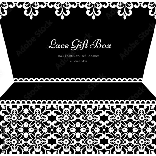 Lacy gift box, monochrome frame with lace borders