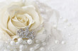 canvas print picture - Cream color rose with jeweled crown