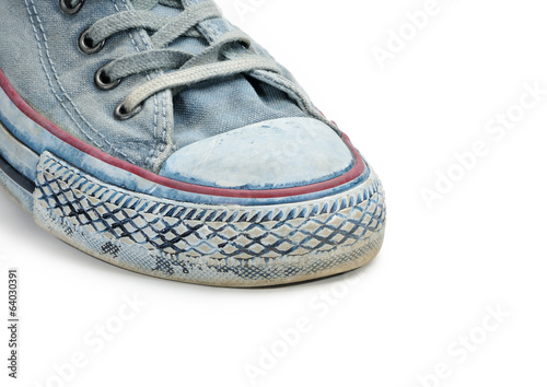 Blue sneaker isolated on white background.