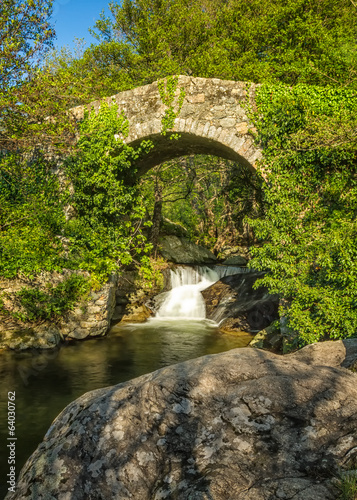 Genoese bridge and cascade near Feliceto in Corsica