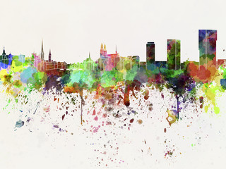 Zurich skyline in watercolor background