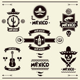 Fototapety Mexican set of labels and stickers with icons.