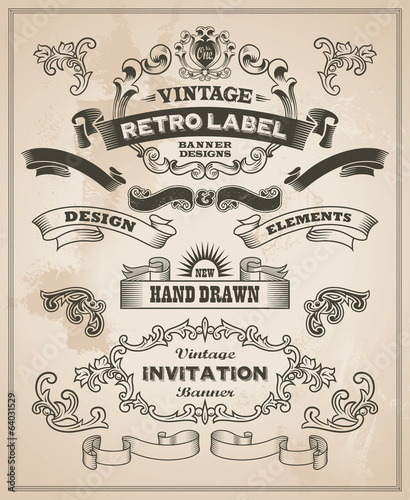 Calligraphic design elements. Vintage banner and ribbon vector