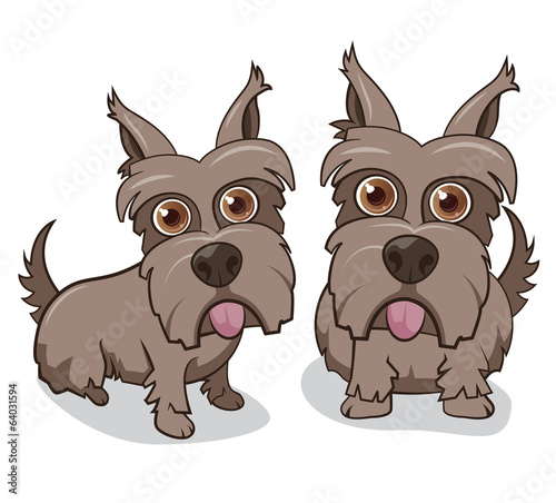 Vector illustration of cute terrier dogs on white background