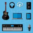 Home music studio concept. Flat design