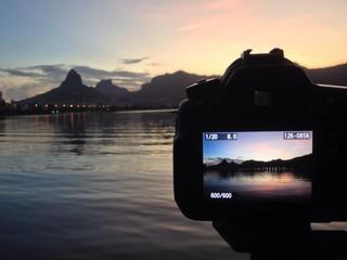 Backstage photography sunset lagoon, Rio de Janeiro