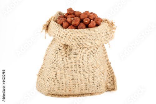 A linen sack is the filbert filled by nuts