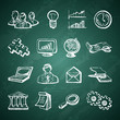 Infographic chalkboard icons