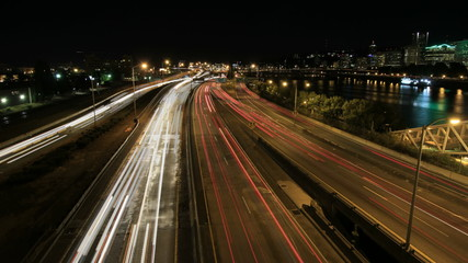 Rush Hour Freeway Traffic Light Trails in Portland Oregon