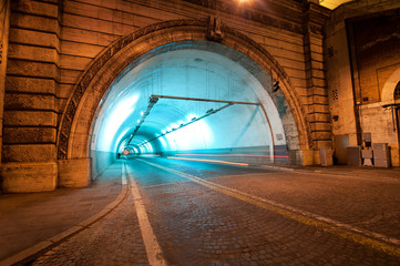 Tunnel in Rome, Italy, by night