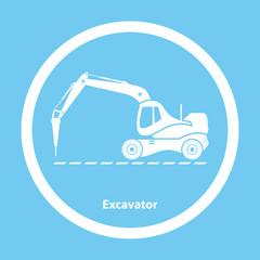Excavator with hydraulic hammer