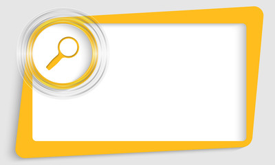 yellow abstract text box with transparent circle and magnifier