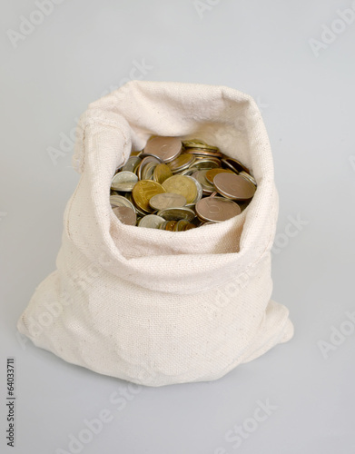 The Russian metallic currency lies in a bag. Bag of money
