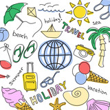 Set of colored sketches - summer vacation at sea