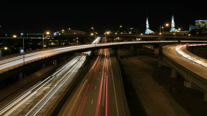 Rush Hour Freeway Traffic Light Trails in Portland Oregon 1080p