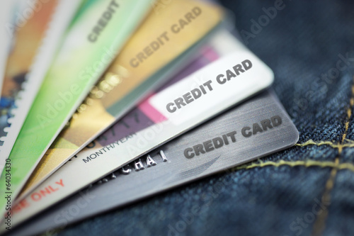 credit cards on blue jeans texture