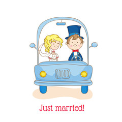 "Wedding Invitation Card - ""Just Married"" Car Theme - in vector"