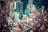 Fototapety Aerial view of Manhattan skyline at sunset, New York City