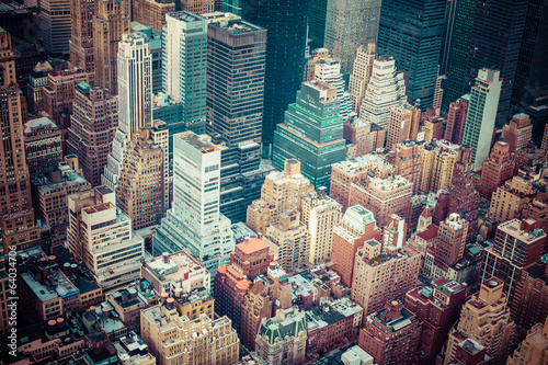 Aerial view of Manhattan skyline at sunset, New York City - 64034706