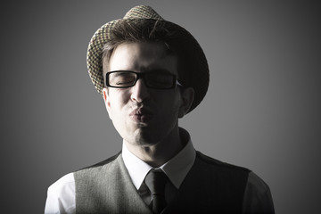 Funny portrait of young stylish man