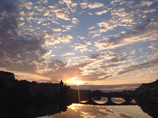 dramatic sunset in florence