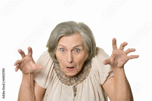 Angry elderly woman