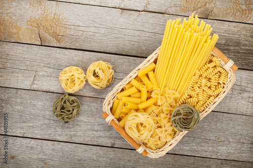 Pasta over wooden table